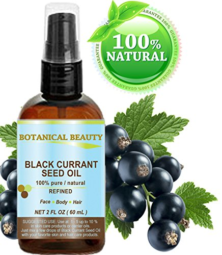 """BLACK CURRANT SEED OIL. 100% Pure / Natural / Undiluted / Refined Cold Pressed Carrier oil. 2 Fl.oz. - 60ml. For Skin, Hair, Lip and Nail Care. """"One of the richest in gamma-linolenic acid, Omega 3, 6 and 9 Essential Fatty Acids"""". by Botanical Beauty"""
