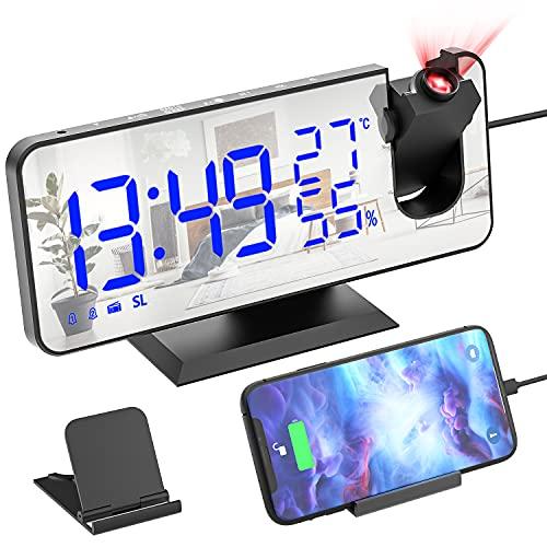 Ezanaki Projektionswecker, Wecker Digitaler mit Projektion 180° Radiowecker mit USB Anschluss, 7