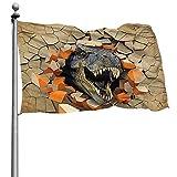 N/A Schöne Gartenflaggen für den Außenbereich, Dinosaurier an der Wand Yard Flags | Langlebig, Polyester, 4X6 Ft