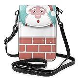 Pequeño teléfono celular bolso crossbody bolsa Santa dentro de la chimenea cuero monedero Crossbody bolsos bolso de hombro para niña