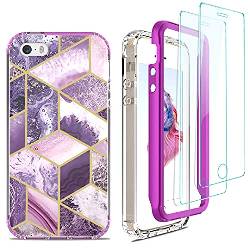 Jeylly iPhone 5S Case, iPhone 5 Case/iPhone SE (2016 Edition) Case Marble Design for Women, Heavy Duty Shockproof Hybrid Hard PC Frame + Soft TPU Bumper Protective Case with Screen Protector, Lavender