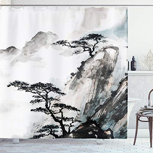AMBZEK Asian Shower Curtain Chinese Landscape Painting Watercolor Mountain Pine Trees Oriental Style Ink Scenic ThemeArtwork Cloth Fabric Bathroom Decor Set 12 Pack Plastic Hooks 60Wx71H, Black