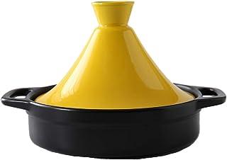 WZYJ Olla Tagine De 21 Cm para Cocinar, Olla Tagine De Cerámica, Olla Tajine Ollas De Cerámica para Cocinar Estofado Cacerola Olla De Cocción Lenta para Cocina Casera,Amarillo