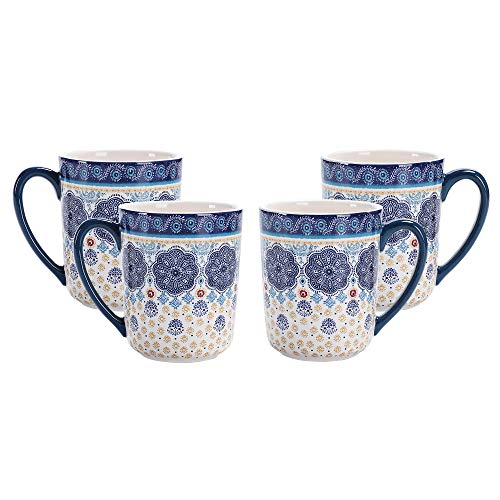 Bico Blue Talavera Ceramic Mugs, Set of 4, for Coffee, Tea, Drinks, Microwave & Dishwasher Safe