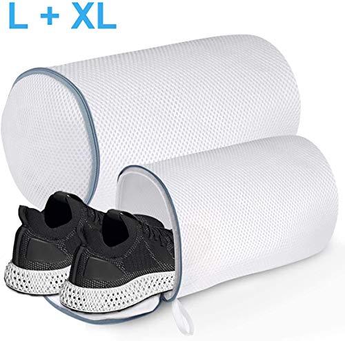 Wäschenetz für Schuhe, Schuh-Wäschebeutel mit Reißverschluss für Waschmaschine Schuhnetz Schuhbeutel, Wäschesack Schutz Wäschenetze für Sneaker, 2 Pcs (L + XL)