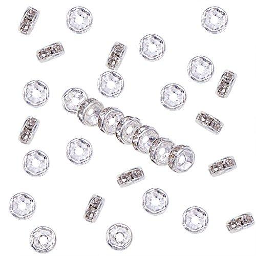 NBEADS 200 unids 5 mm Grado A Plateado Cristal Claro Rhinestone Redondo Rondelle Spacer Beads para La Joyería