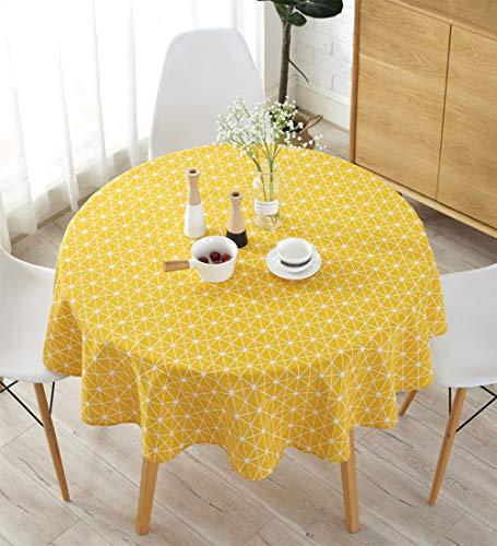 Meioro Manteles Mantel Redonda Cubierta de Mesa de Lino de algodón Redondo Manteles de Sarga Simples Adecuado para la decoración de cocinas caseras, Varios tamaños(Amarillo,100cm de diámetro)