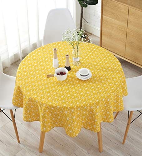 Meiosuns Tischdecke Rechteckige Tischdecken Baumwolle Leinen Einfaches Twill Tischdecke Geeignet für Home Küche Dekoration, Verschiedene Größen (Durchmesser 150 cm, Gelb)