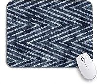 可愛いマウスパッド ブルーブラッシュ抽象インディゴ染め苦しめられたジグザグ海軍シェブロンノンスリップゴムバッキングマウスパッドノートブックコンピューターマウスマット