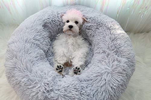 KongEU Donut Cama para perro Shaggy Snug Pet Sofá, cama redonda cueva de anidación cálida de felpa, lavable a máquina, colchón para perro, suave y cómodo, cama para cachorros, gris, 60 cm