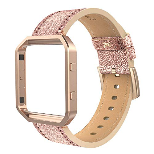Simpeak Leather Band with Case Frame Compatible with Fitbit Blaze Smartwatch, Large Size with Frame, Genuine Leather Band Replacement for Fitbit Blaze, Bright Gold Rose Gold Frame