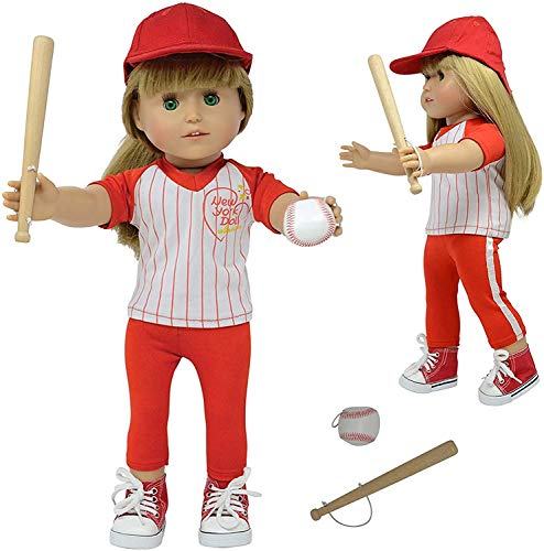 The New York Doll Collection 18' Doll Baseball Set - Baseball Uniform Fits American Girl Dolls - Doll Accessories Included