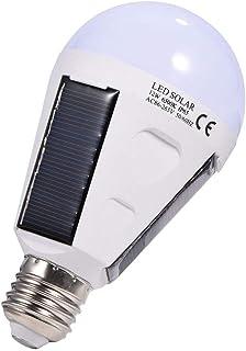 eecoo Bombilla de Luces LED solares, E27 IP 65 Bombilla de luz Solar Impermeable para Interiores/Exteriores, Bombilla de luz LED de Emergencia portátil con Gancho para Camping, Senderismo, Carpa(12W)