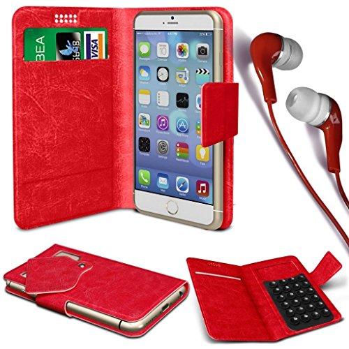 N4U Online®–Oppo Joy Plus PU Leder Saugnapf Pad Wallet Schutzhülle und 3,5mm Kopfhörer Stereo Kopfhörer–rot