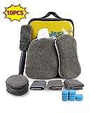 EASY EAGLE Set Limpieza Coche, 10Pcs Kit de Lavado de Autos, Microfibra Paños Guante Almohadillas de Pulido Esponja Cepillo para Llantas, Cepillo de Ventilación