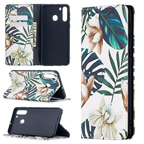 KM-WEN Funda para Samsung Galaxy A21/A215 (6,5 pulgadas), estilo libro, patrón de narciso, adsorción automática, funda de piel sintética, con tapa, con soporte, funda protectora, color 6