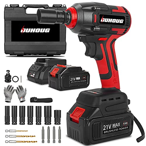 Cordless Impact Wrench, 1/2 Impact Wrench Driver/Drill/Screws with 3200RPM Variable Speed, Torque 258 ft-lbs/350N.m, 21V Power Impact Wrenches, 2 x 4.0AH Battery Pack, Safety Lock Design