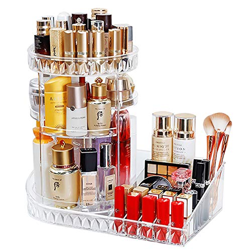 Happy Deals Mecool Makeup Organizer 360 Degree Rotation Adjustable Storage Case Jewelry Cosmetic Perfumes Display Stand Box Diamond Pattern Make Up Storage for Dresser, Bedroom, Bathroom