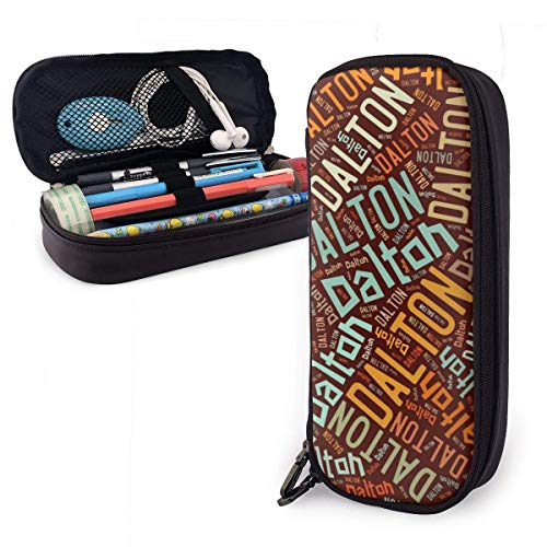 ZhaXiPingCuo Dalton American Surname High Capacity Leather Mäppchen Pencil Pen Stationery Holder Large Storage Pouch Box Organizer College Makeup Pen Stuff & Travel Carrying Bag