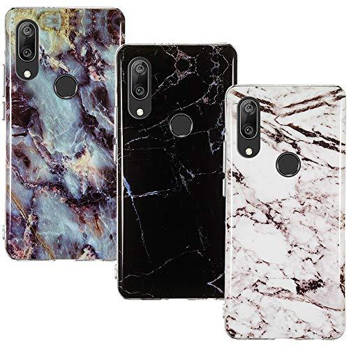 CLM-Tech Hülle 3X kompatibel mit Huawei Y7 2019, TPU Silikon-Hülle Case Schutzhülle Handyhülle 3er Set, Marmor schwarz weiß Mehrfarbig