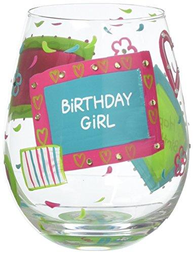 "Designs by Lolita ""Birthday Girl"" Hand-painted Artisan Stemless Wine Glass, 20 oz."