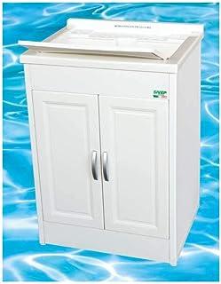 Mongardi 1000046733 Meuble avec évier en résine, à double porte, 60x 50 x h 85cm