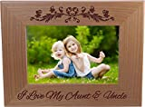 CustomGiftsNow I Love My Aunt and Uncle 4-inch x 6-Inch Engraved Alder Wood Tabletop/Hanging Photo Picture Frame (4x6-inch Horizontal)
