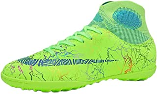 Aiweijia Unisex Kids' Lacing Rubber Sole Breathable High Top Soccer Sneaker