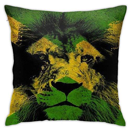 Hdadwy Lion of Jamaica Throw Pillow Cover Funda de Almohada Decorativa Funda de Almohada Cuadrada de 18x18 Pulgadas para decoración del hogar