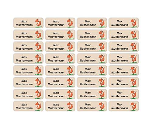 Sunnywall® Namensaufkleber Namen Sticker Aufkleber Sticker 4,8x1,6cm | 60 Stück für Kinder Schule und Kindergarten 38 Hintergründe zur Auswahl (25 Fuchs)