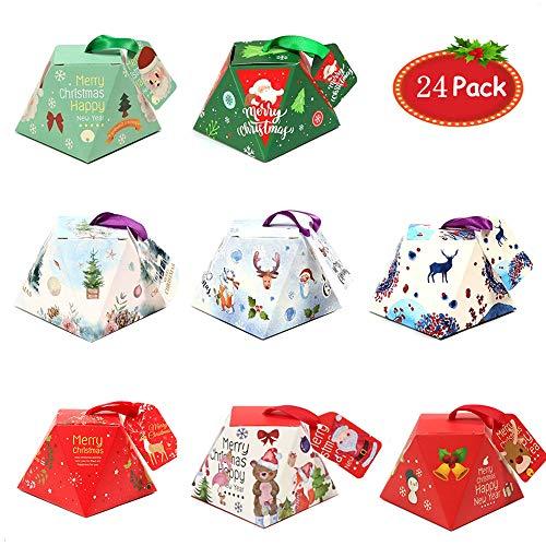 Wormo Kerstcadeaubox 24 stuks kleurrijke geschenkdoos in 8 kleuren, cadeaubox voor snoep, chocolade, gebak, doosje voor Kerstmis, verjaardagen, bruiloften, kinderfeestjes