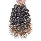 Short Deep Twist Crochet hair for Hippie Braids Bohemian Crochet Braids Natural Blonde Synthetic Ocean Wave Braiding hair Extensions (10inch,5Packs,1B/27)