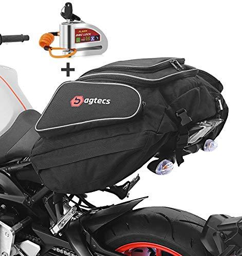 Set ST4 Motorrad Hecktasche Bagtecs X50 + Bremsscheibenschloss Erinnerungskabel