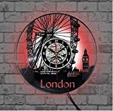 TIANZly Reloj de Pared de Vinilo de Registro en Reloj de Pared Big Ben Ferris Wheel Moden Design Home Decor London Vinyl Wall Clocks Watch