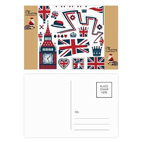 Big Ben Ballon Soldaat UK Landmark Kerstman Gift Postkaart Thanks Card Versturen 20 stks