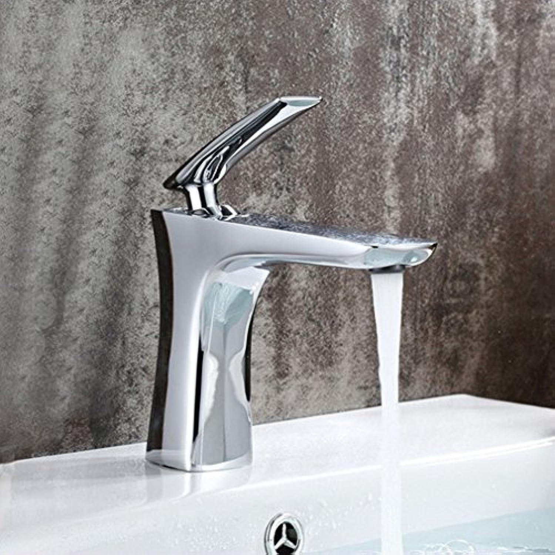 MNLMJ Moderne einfache kupferne heie und kalte Wasserhhne Küchenarmatur Zeitgenssische kupferne Chrom-Einhand-Einloch-Beckenmischer für warmes und kaltes Wasser Geeignet für alle Badezimmer-