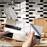 24 Premium Self-Adhesive Kitchen Backsplash Tiles Sticker in Marble,Premium Wall Paper Sticker Pull and Stick, 3D Tile Stickers,for Kitchen, Bathroom, Counter Top (A)