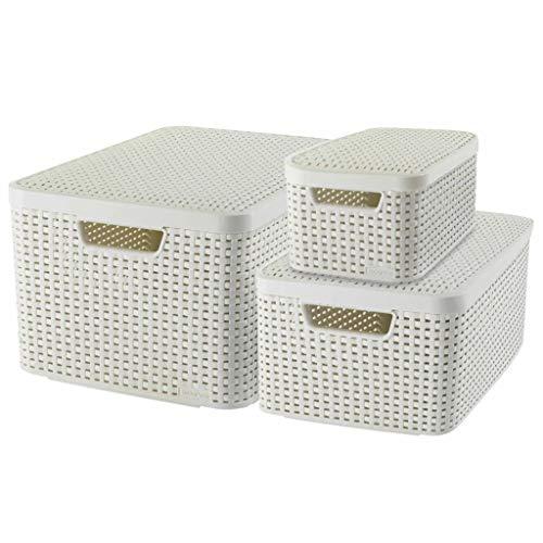 Curver 240652 - Set de 3 cestas Style con tapa, tamaños S de 7 litros, M de 18 litros y L 30 litros, color blanco