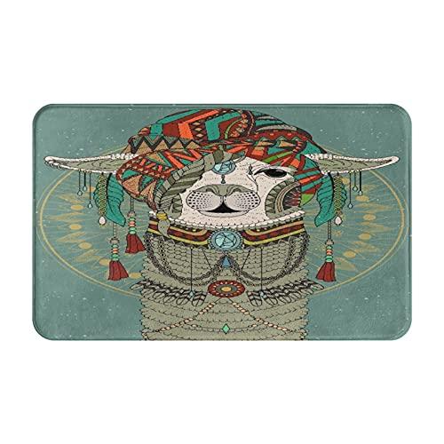 Dachangtui Alfombras de baño, decoración de la habitación, Sombreros Coloridos con Llama con Accesorios, Pendientes, Collar, abs, Alfombrillas duraderas y Suaves con Antideslizante