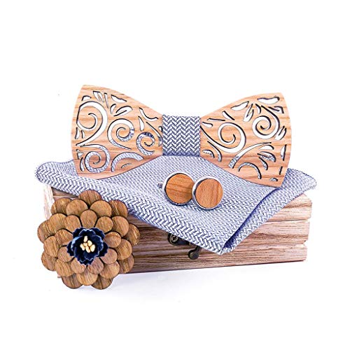 SoonerQuicker Ensemble de mouchoir en bois manuel avec nœud papillon en bois sculpté et boîte pour hommes en bois fait main arabesque pochette Mariage, cadeau de fête des pères