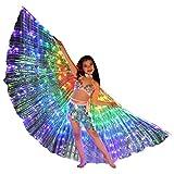 Lenfesh Kinder LED Bauchtanz Flügel Bunte Schmetterlingsflügel mit Teleskopstock Fee Kostüm Set LED