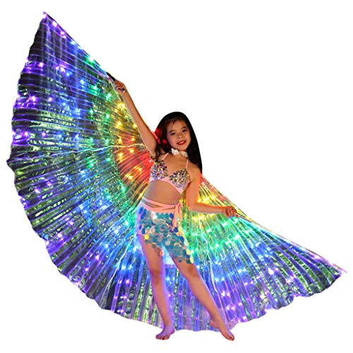 LED Belly Dance Isis Wings for Kid Girl, Butterfly Shawl Fairy Ladies Cape Nymph Pixie Costume Angel Wings with Telescopic Sticks for Halloween Carnival Performance Clothing (Multicolor,C)