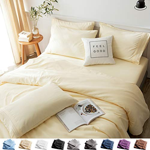LBRO2M Bed Sheets Set Full Size 6 Piece 16 Inches Deep Pocket 1800 Thread Count 100% Microfiber Sheet,Bedding Super Soft Hypoallergenic Breathable,Resistant Fade Wrinkle Cool Warm (Yellow)