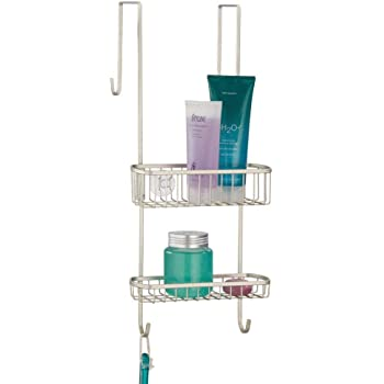 mDesign Estantería de ducha para colgar sobre la mampara – Práctico colgador para ducha de metal resistente sin taladro – Cestas metálicas con ventosas para los accesorios de ducha – plateado mate:
