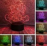 3D Mickey Minnie Clochette Flocon De Neige Daisy Donald Canard Nuit 7 Couleurs USB Hologramme Table...