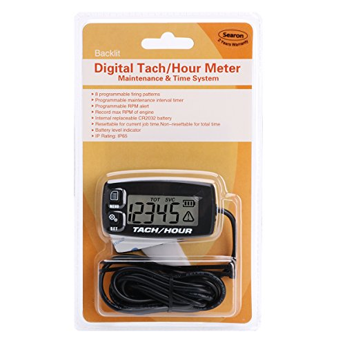 Searon Tach Hour Meter Tachometer - Inductive Tachometer for Outboard Engine Chain Saws Tractors Lawnmowers Motorcycles Marine Engines RC Toys PWC ATV