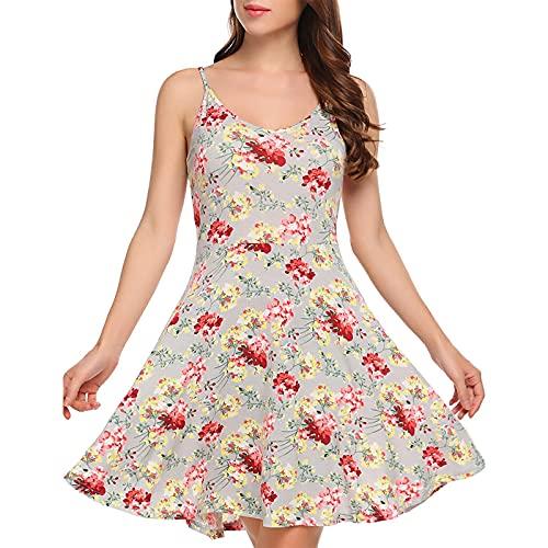 Vestido de verano para mujer, sin mangas, con estampado de flores, con correa para el hombro ajustable, vestido de playa, colorido, moderno, elegante, elegante, elegante, acampanado, beige, M