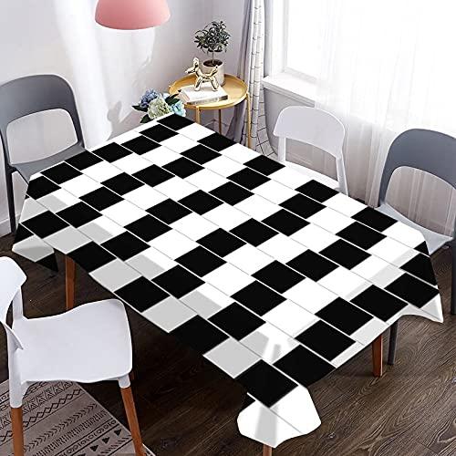 MJIA Tovaglia Impermeabile con Motivo a Strisce 3D in Bianco e Nero, Tavolo da Picnic per Hotel per la casa e tovaglia Decorativa per scrivania M-7 140x210 cm