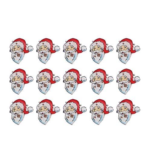 Tinksky Broches de Noël Père Noël Lumineux Clignotant LED 25pcs Cadeau Noël Enfants Deco Noel