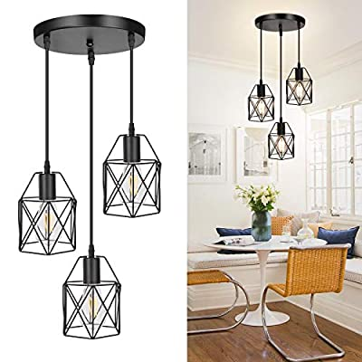 3-Light Industrial Pendant Light, Metal Caged Hanging Light Fixtures with Adjustable Cord, E26 Base Semi-flush Mount Farmhouse Pendant Lighting for Kitchen Island Living Room Bar, Bulbs Not Included